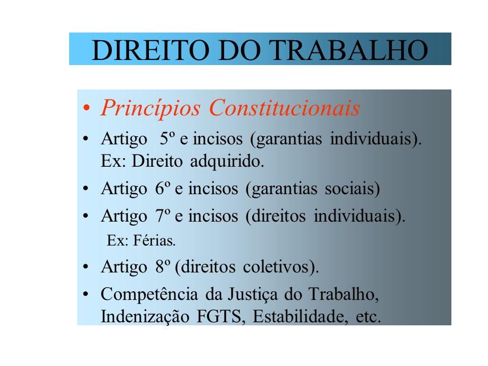 DIREITO DO TRABALHO Princípios Constitucionais Artigo 5º e incisos (garantias individuais). Ex: Direito adquirido. Artigo 6º e incisos (garantias soci
