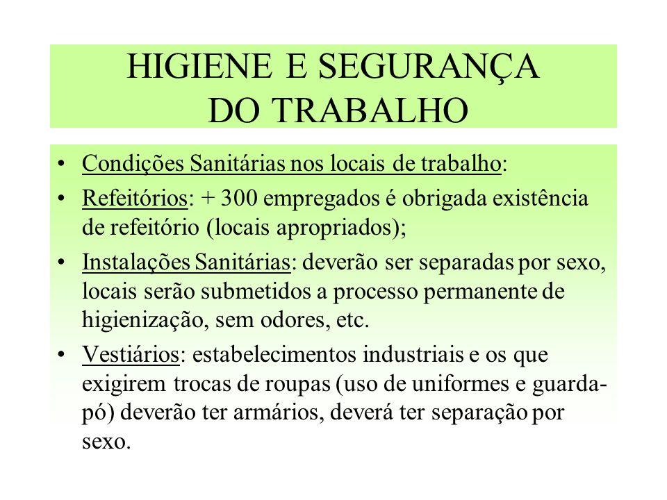 HIGIENE E SEGURANÇA DO TRABALHO Condições Sanitárias nos locais de trabalho: Refeitórios: + 300 empregados é obrigada existência de refeitório (locais
