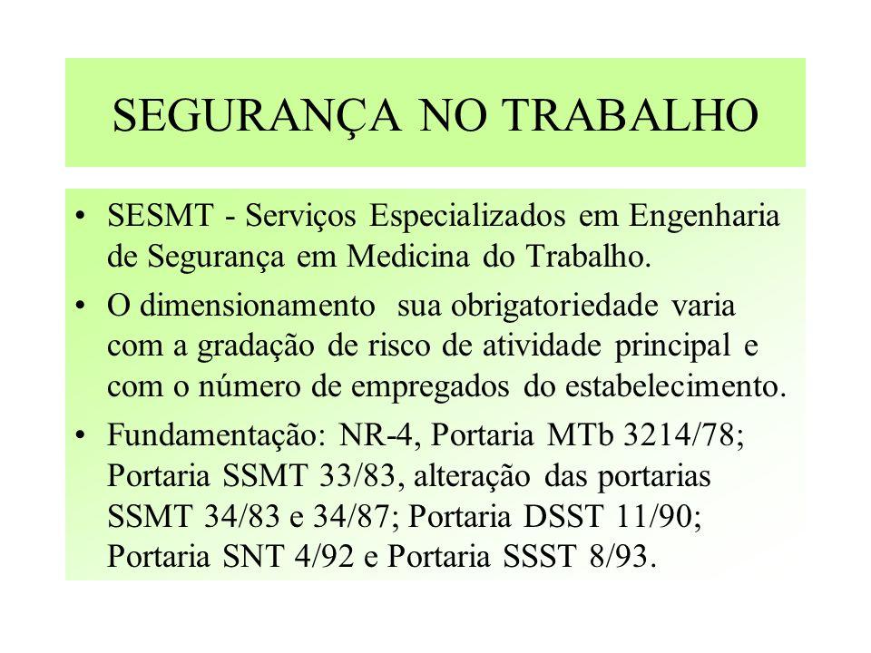SEGURANÇA NO TRABALHO SESMT - Serviços Especializados em Engenharia de Segurança em Medicina do Trabalho. O dimensionamento sua obrigatoriedade varia