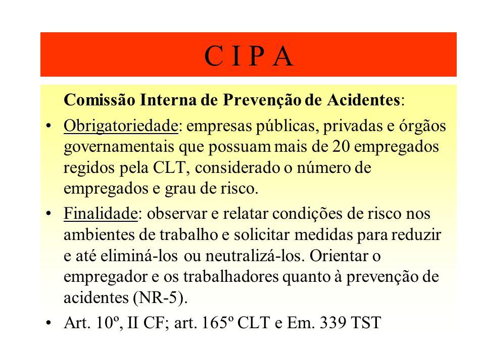 C I P A Comissão Interna de Prevenção de Acidentes: ObrigatoriedadeObrigatoriedade: empresas públicas, privadas e órgãos governamentais que possuam ma