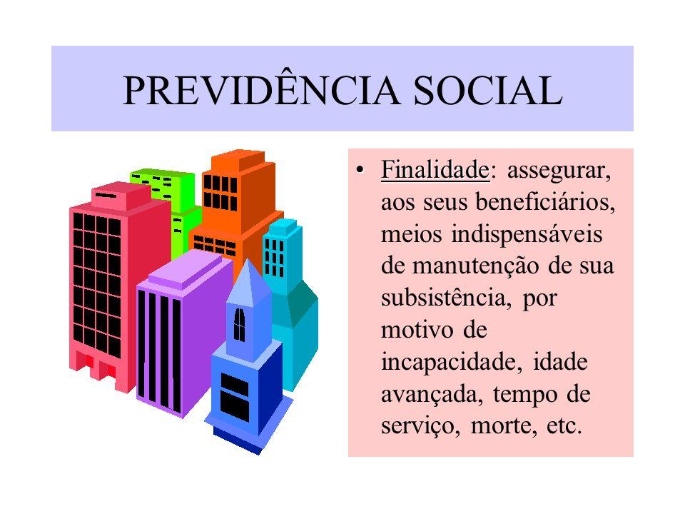 PREVIDÊNCIA SOCIAL FinalidadeFinalidade: assegurar, aos seus beneficiários, meios indispensáveis de manutenção de sua subsistência, por motivo de inca