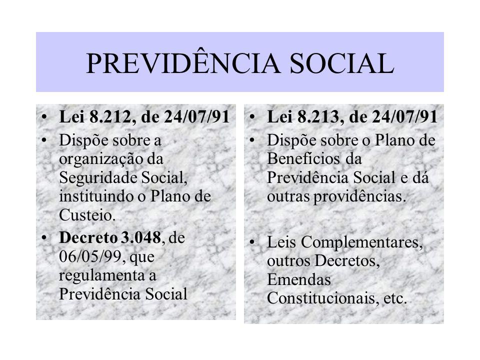 PREVIDÊNCIA SOCIAL Lei 8.212, de 24/07/91 Dispõe sobre a organização da Seguridade Social, instituindo o Plano de Custeio. Decreto 3.048, de 06/05/99,