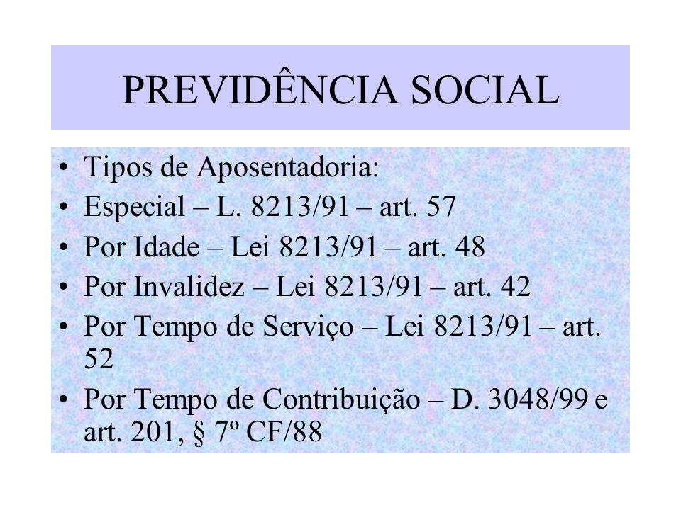 PREVIDÊNCIA SOCIAL Tipos de Aposentadoria: Especial – L. 8213/91 – art. 57 Por Idade – Lei 8213/91 – art. 48 Por Invalidez – Lei 8213/91 – art. 42 Por