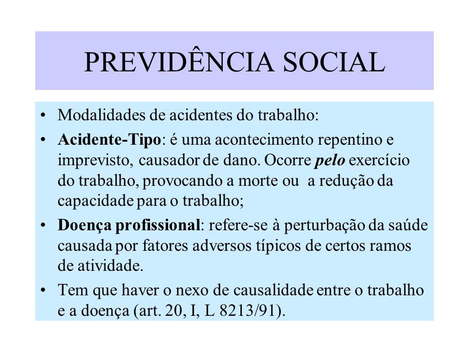 PREVIDÊNCIA SOCIAL Modalidades de acidentes do trabalho: Acidente-Tipo: é uma acontecimento repentino e imprevisto, causador de dano. Ocorre pelo exer