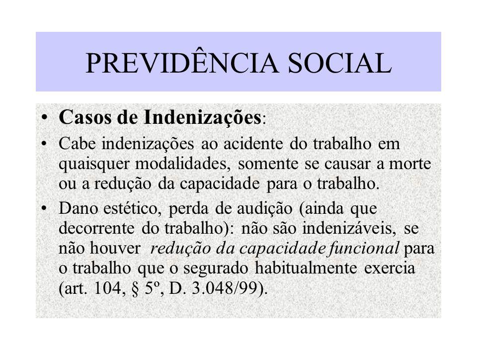 PREVIDÊNCIA SOCIAL Casos de Indenizações : Cabe indenizações ao acidente do trabalho em quaisquer modalidades, somente se causar a morte ou a redução