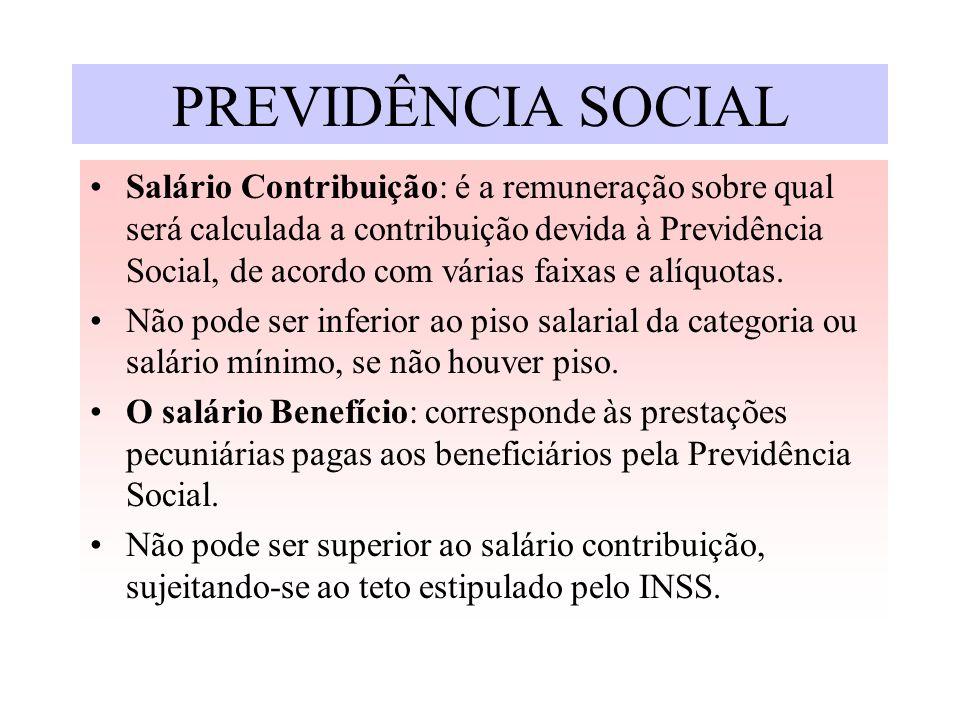 PREVIDÊNCIA SOCIAL Salário Contribuição: é a remuneração sobre qual será calculada a contribuição devida à Previdência Social, de acordo com várias fa