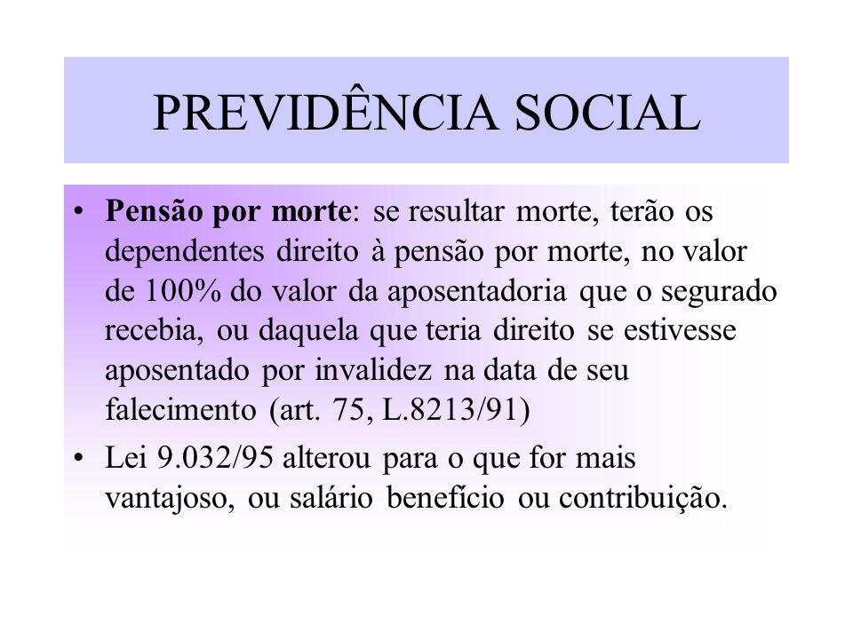 PREVIDÊNCIA SOCIAL Pensão por morte: se resultar morte, terão os dependentes direito à pensão por morte, no valor de 100% do valor da aposentadoria qu