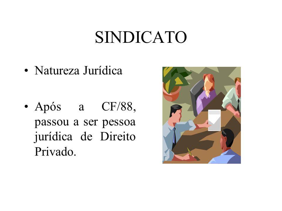 SINDICATO Natureza Jurídica Após a CF/88, passou a ser pessoa jurídica de Direito Privado.