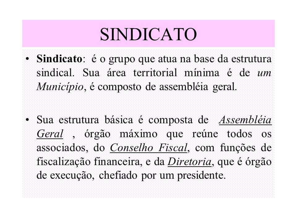 SINDICATO Sindicato: é o grupo que atua na base da estrutura sindical. Sua área territorial mínima é de um Município, é composto de assembléia geral.