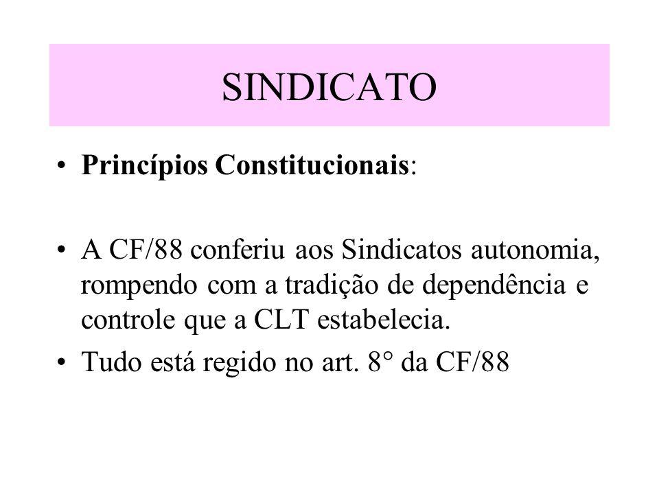 SINDICATO Princípios Constitucionais: A CF/88 conferiu aos Sindicatos autonomia, rompendo com a tradição de dependência e controle que a CLT estabelec