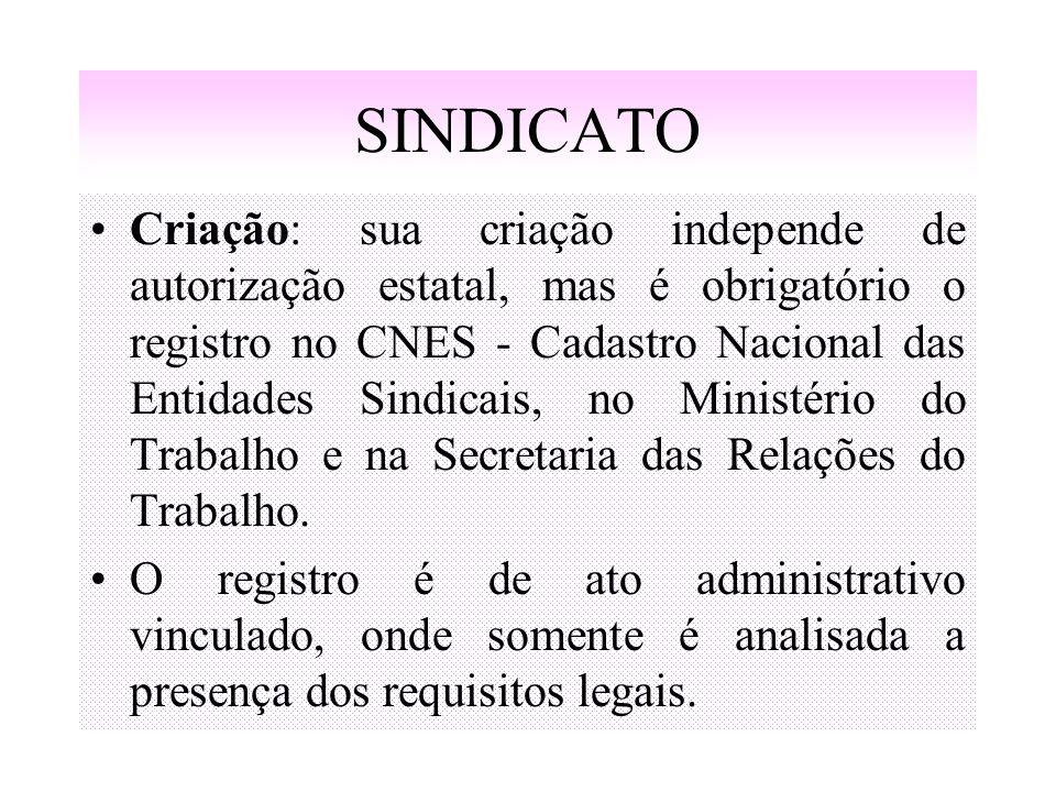 SINDICATO Criação: sua criação independe de autorização estatal, mas é obrigatório o registro no CNES - Cadastro Nacional das Entidades Sindicais, no
