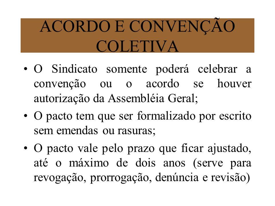 ACORDO E CONVENÇÃO COLETIVA O Sindicato somente poderá celebrar a convenção ou o acordo se houver autorização da Assembléia Geral; O pacto tem que ser