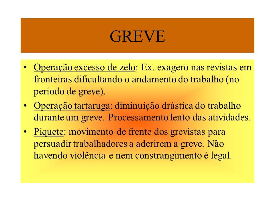 GREVE Operação excesso de zelo: Ex. exagero nas revistas em fronteiras dificultando o andamento do trabalho (no período de greve). Operação tartaruga: