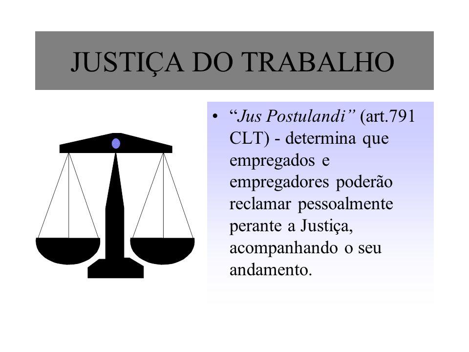 JUSTIÇA DO TRABALHO Jus Postulandi (art.791 CLT) - determina que empregados e empregadores poderão reclamar pessoalmente perante a Justiça, acompanhan
