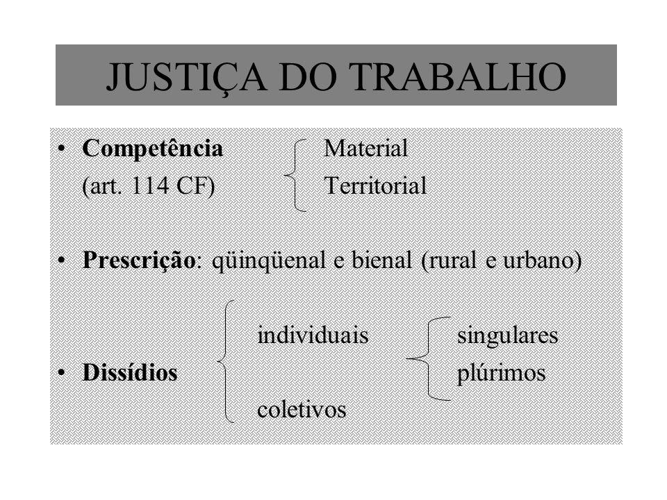 JUSTIÇA DO TRABALHO Competência Material (art. 114 CF)Territorial Prescrição: qüinqüenal e bienal (rural e urbano) individuaissingulares Dissídiosplúr