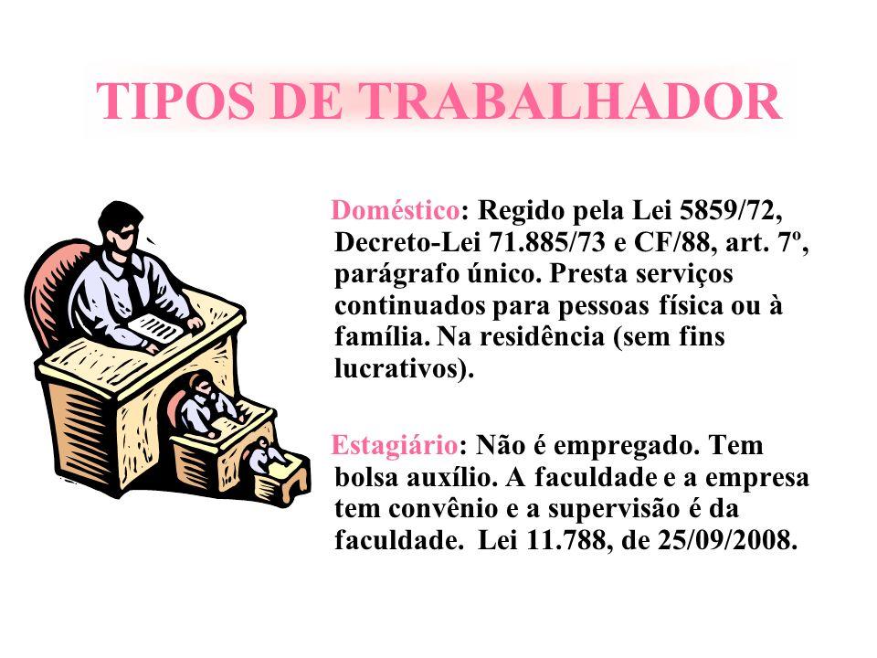 TIPOS DE TRABALHADOR Doméstico: Regido pela Lei 5859/72, Decreto-Lei 71.885/73 e CF/88, art. 7º, parágrafo único. Presta serviços continuados para pes