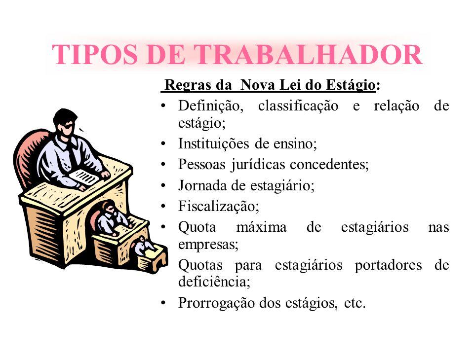 TIPOS DE TRABALHADOR Regras da Nova Lei do Estágio: Definição, classificação e relação de estágio; Instituições de ensino; Pessoas jurídicas concedent