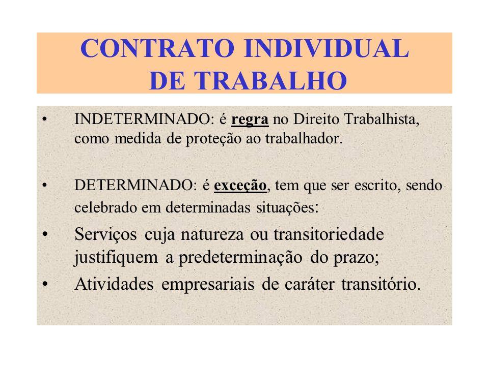 CONTRATO INDIVIDUAL DE TRABALHO INDETERMINADO: é regra no Direito Trabalhista, como medida de proteção ao trabalhador. DETERMINADO: é exceção, tem que