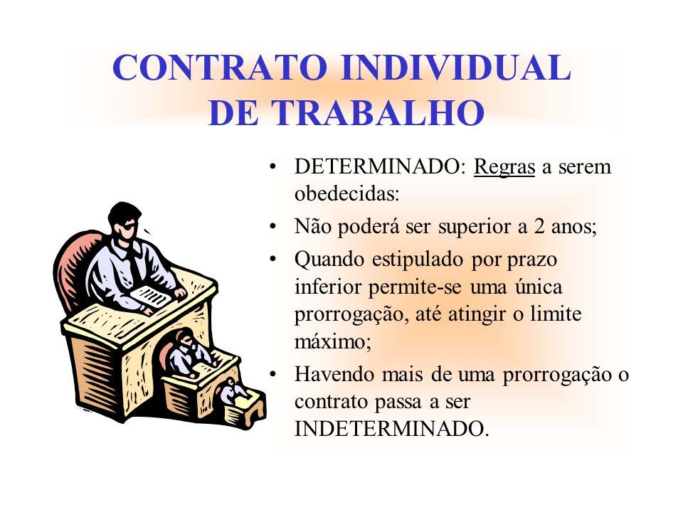 CONTRATO INDIVIDUAL DE TRABALHO DETERMINADO: Regras a serem obedecidas: Não poderá ser superior a 2 anos; Quando estipulado por prazo inferior permite