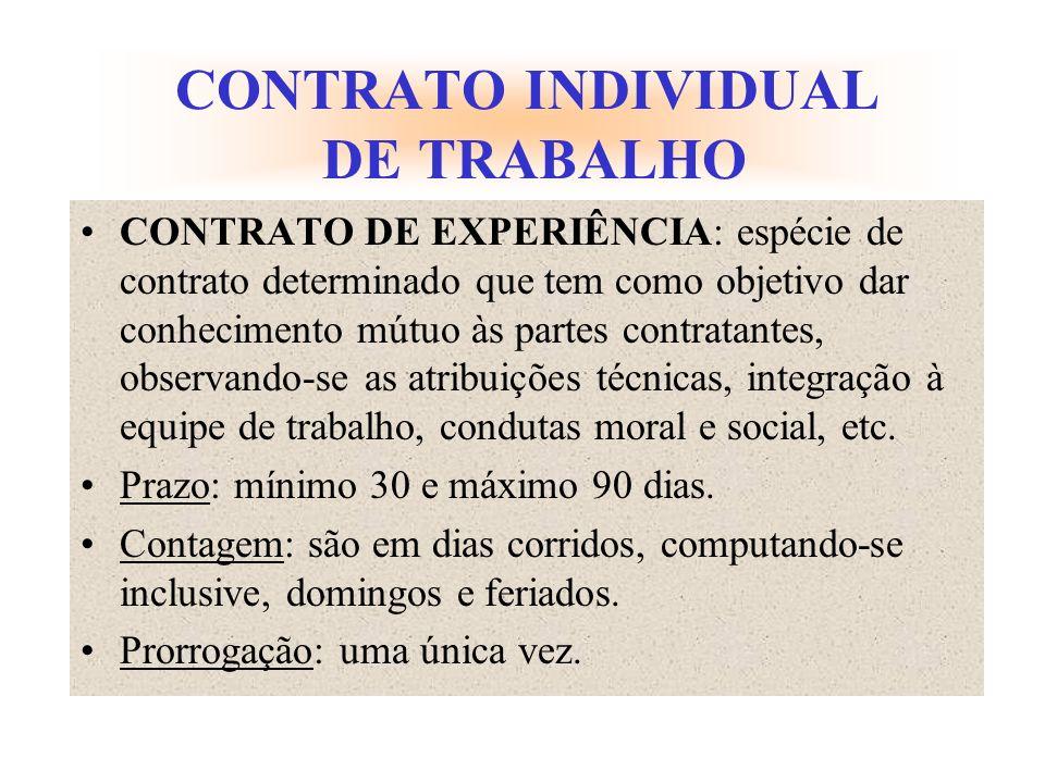 CONTRATO INDIVIDUAL DE TRABALHO CONTRATO DE EXPERIÊNCIA: espécie de contrato determinado que tem como objetivo dar conhecimento mútuo às partes contra