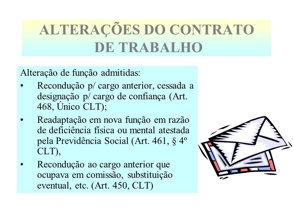 ALTERAÇÕES DO CONTRATO DE TRABALHO Alteração de função admitidas: Recondução p/ cargo anterior, cessada a designação p/ cargo de confiança (Art. 468,