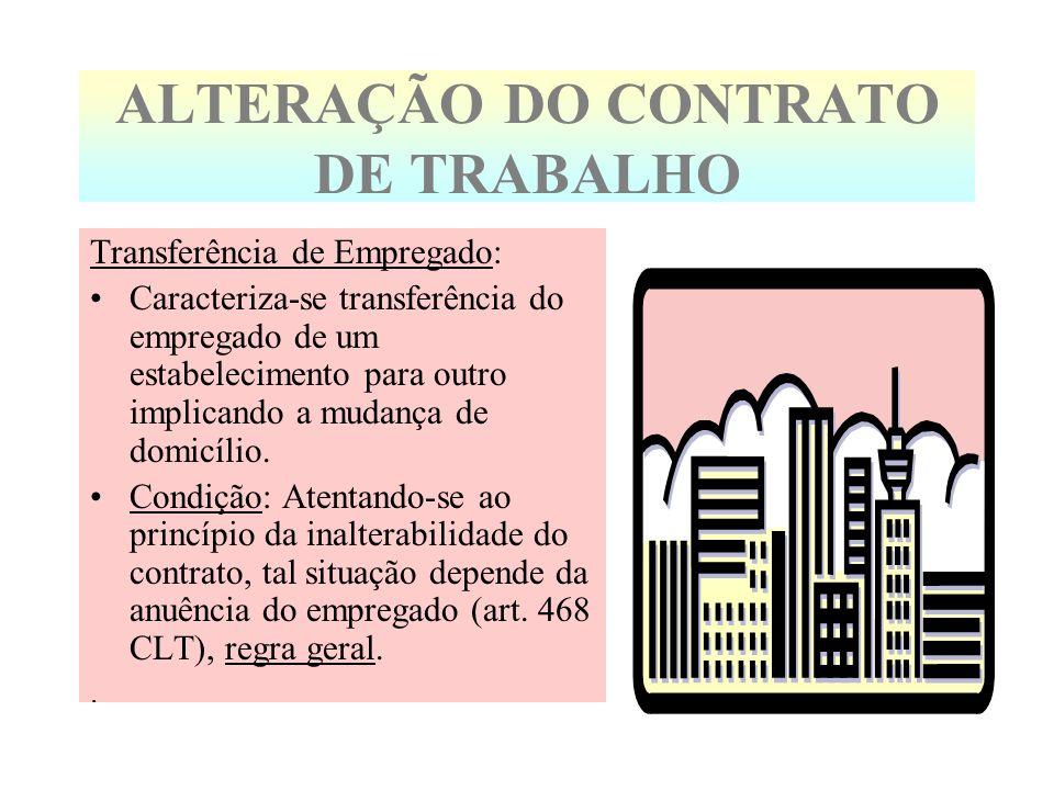 ALTERAÇÃO DO CONTRATO DE TRABALHO Transferência de Empregado: Caracteriza-se transferência do empregado de um estabelecimento para outro implicando a