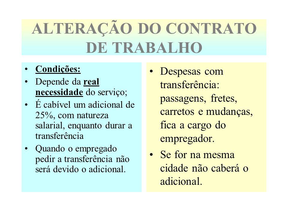 ALTERAÇÃO DO CONTRATO DE TRABALHO Condições: Depende da real necessidade do serviço; É cabível um adicional de 25%, com natureza salarial, enquanto du