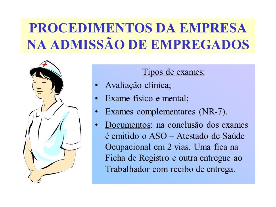 PROCEDIMENTOS DA EMPRESA NA ADMISSÃO DE EMPREGADOS Tipos de exames: Avaliação clínica; Exame físico e mental; Exames complementares (NR-7). Documentos
