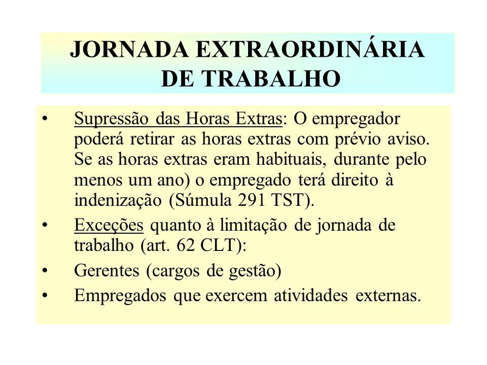JORNADA EXTRAORDINÁRIA DE TRABALHO Supressão das Horas Extras: O empregador poderá retirar as horas extras com prévio aviso. Se as horas extras eram h