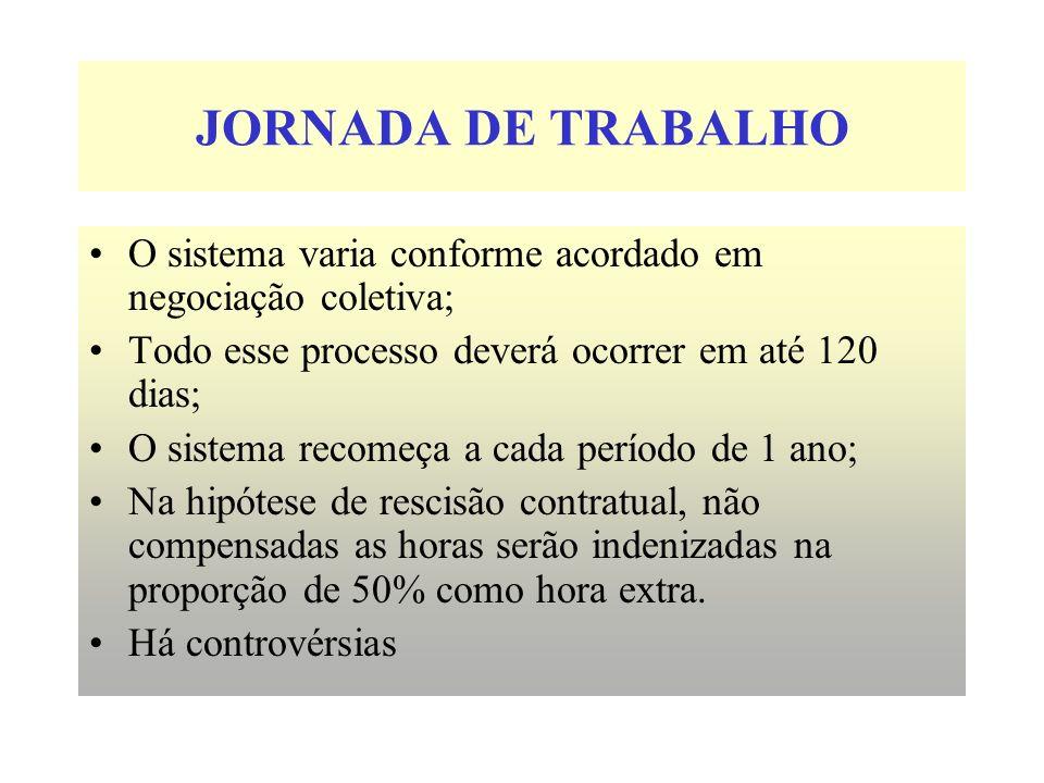 JORNADA DE TRABALHO O sistema varia conforme acordado em negociação coletiva; Todo esse processo deverá ocorrer em até 120 dias; O sistema recomeça a