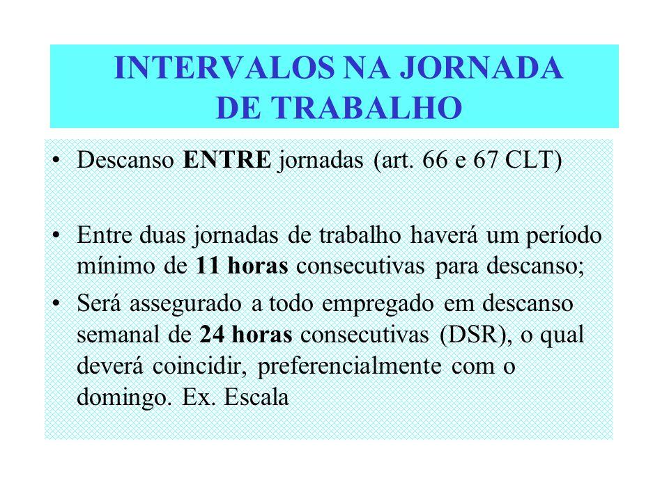 INTERVALOS NA JORNADA DE TRABALHO Descanso ENTRE jornadas (art. 66 e 67 CLT) Entre duas jornadas de trabalho haverá um período mínimo de 11 horas cons