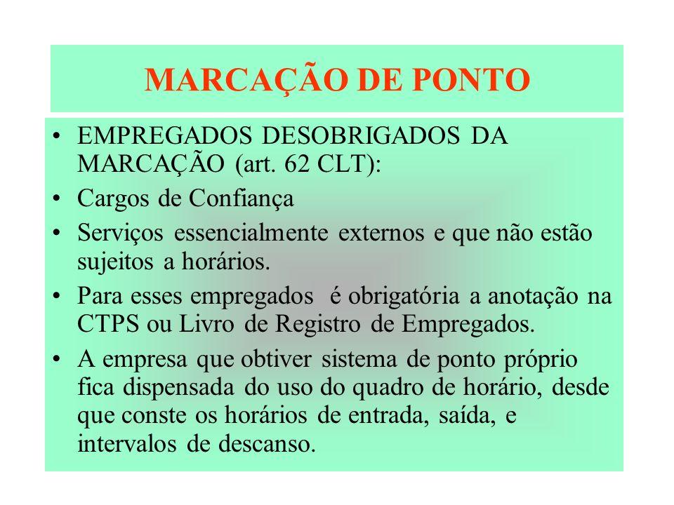 MARCAÇÃO DE PONTO EMPREGADOS DESOBRIGADOS DA MARCAÇÃO (art. 62 CLT): Cargos de Confiança Serviços essencialmente externos e que não estão sujeitos a h