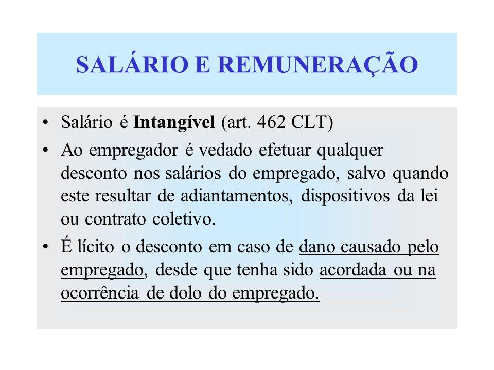 SALÁRIO E REMUNERAÇÃO Salário é Intangível (art. 462 CLT) Ao empregador é vedado efetuar qualquer desconto nos salários do empregado, salvo quando est