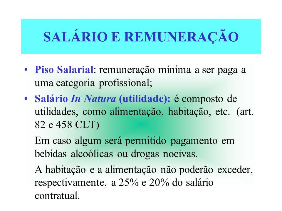 SALÁRIO E REMUNERAÇÃO Piso Salarial: remuneração mínima a ser paga a uma categoria profissional; Salário In Natura (utilidade): é composto de utilidad