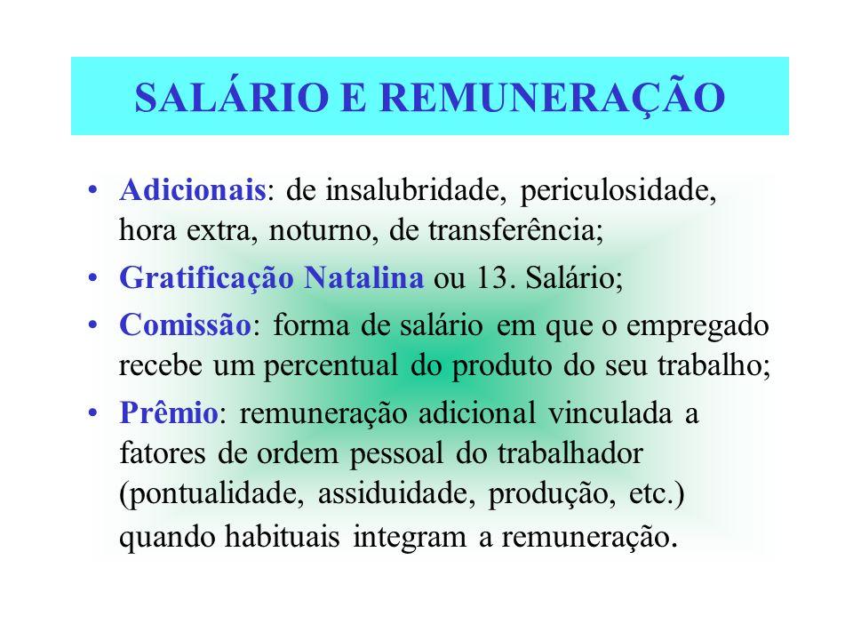 SALÁRIO E REMUNERAÇÃO Adicionais: de insalubridade, periculosidade, hora extra, noturno, de transferência; Gratificação Natalina ou 13. Salário; Comis