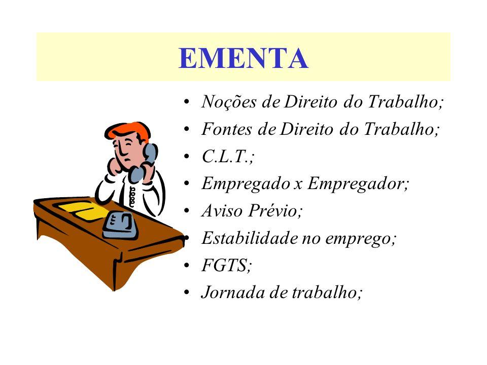 EMENTA Noções de Direito do Trabalho; Fontes de Direito do Trabalho; C.L.T.; Empregado x Empregador; Aviso Prévio; Estabilidade no emprego; FGTS; Jorn