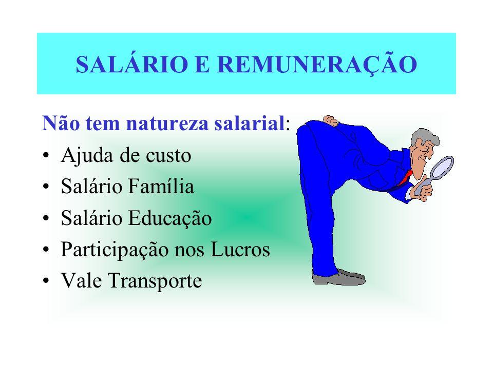 SALÁRIO E REMUNERAÇÃO Não tem natureza salarial: Ajuda de custo Salário Família Salário Educação Participação nos Lucros Vale Transporte