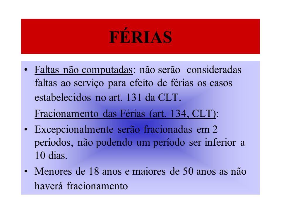 Faltas não computadas: não serão consideradas faltas ao serviço para efeito de férias os casos estabelecidos no art. 131 da CLT. Fracionamento das Fér
