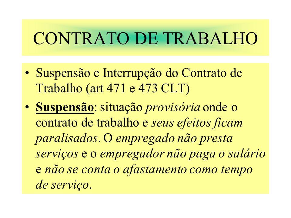CONTRATO DE TRABALHO Suspensão e Interrupção do Contrato de Trabalho (art 471 e 473 CLT) Suspensão: situação provisória onde o contrato de trabalho e