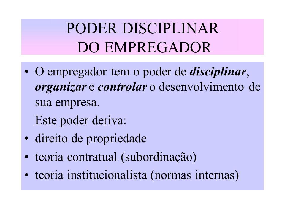 PODER DISCIPLINAR DO EMPREGADOR O empregador tem o poder de disciplinar, organizar e controlar o desenvolvimento de sua empresa. Este poder deriva: di