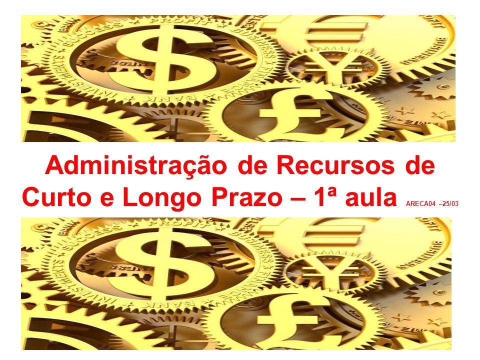 Administração de Recursos de Curto e Longo Prazo – 1ª aula ARECA04 –25/03