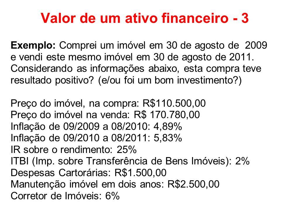 Valor de um ativo financeiro - 3 Exemplo: Comprei um imóvel em 30 de agosto de 2009 e vendi este mesmo imóvel em 30 de agosto de 2011. Considerando as