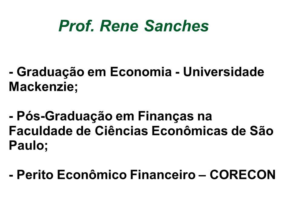 Prof. Rene Sanches - Graduação em Economia - Universidade Mackenzie; - Pós-Graduação em Finanças na Faculdade de Ciências Econômicas de São Paulo; - P