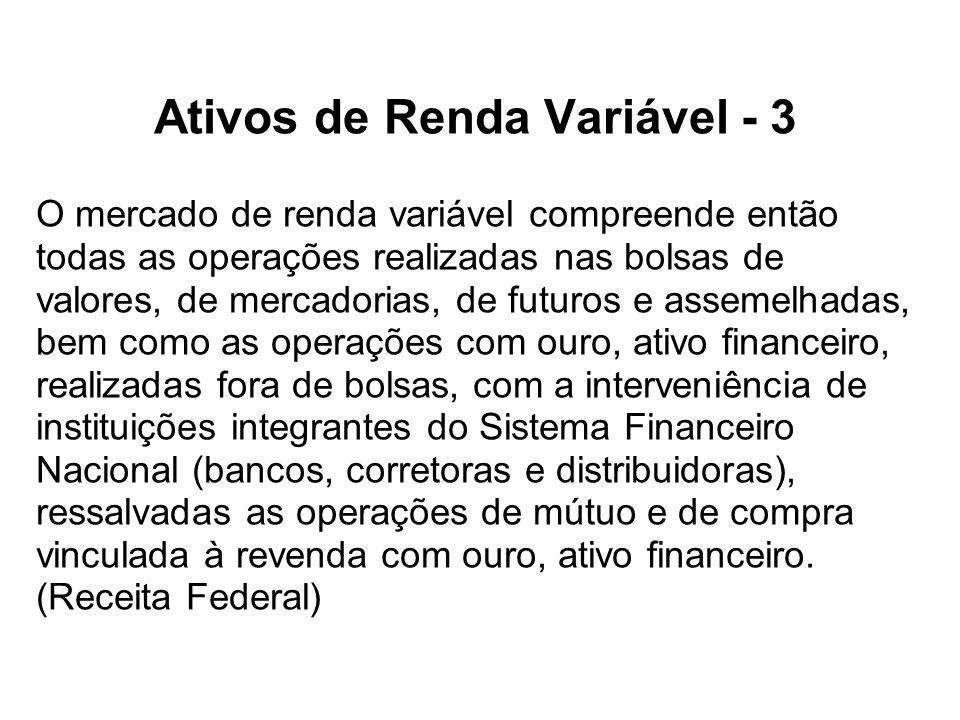 Ativos de Renda Variável - 3 O mercado de renda variável compreende então todas as operações realizadas nas bolsas de valores, de mercadorias, de futu
