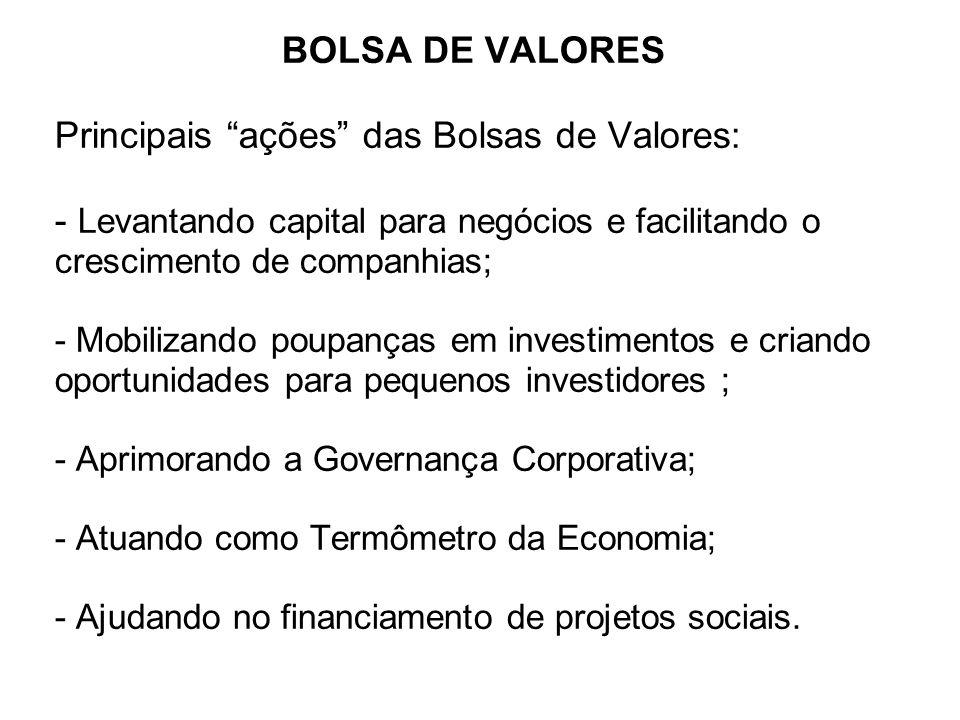 BOLSA DE VALORES Principais ações das Bolsas de Valores: - Levantando capital para negócios e facilitando o crescimento de companhias; - Mobilizando p