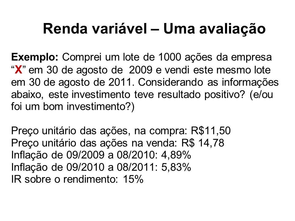 Renda variável – Uma avaliação Exemplo: Comprei um lote de 1000 ações da empresa X em 30 de agosto de 2009 e vendi este mesmo lote em 30 de agosto de