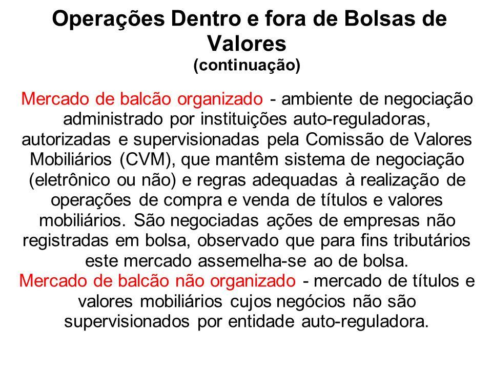Operações Dentro e fora de Bolsas de Valores (continuação) Mercado de balcão organizado - ambiente de negociação administrado por instituições auto-re