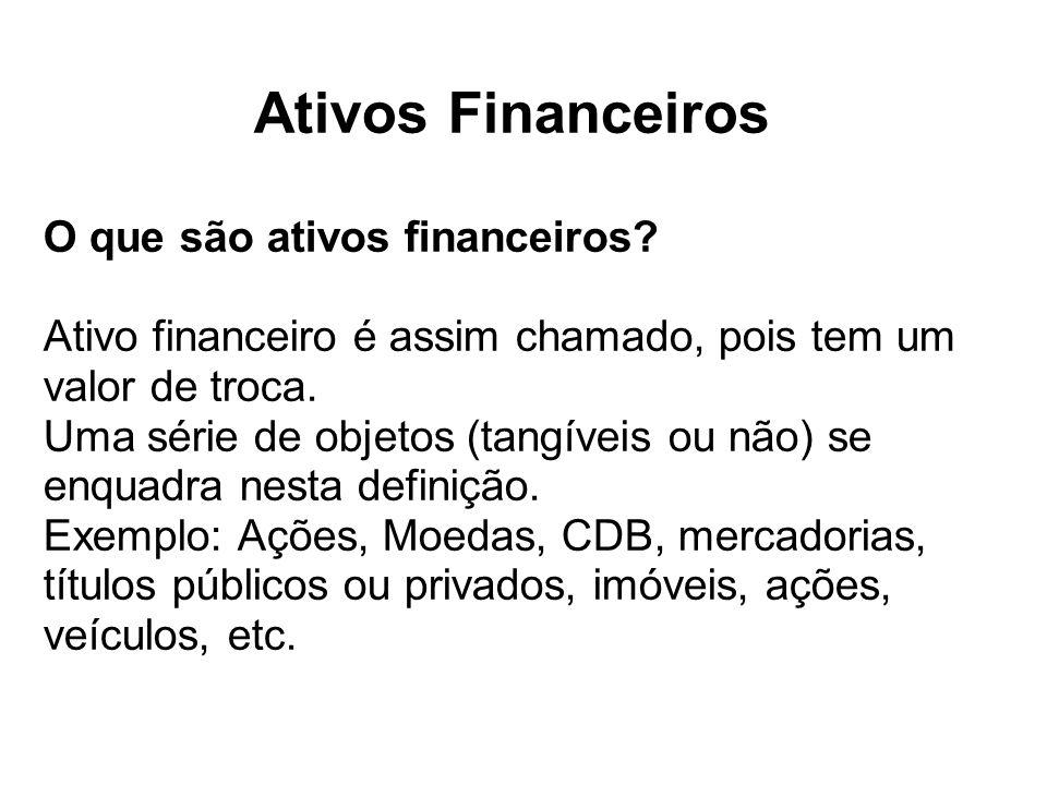 Ativos Financeiros O que são ativos financeiros? Ativo financeiro é assim chamado, pois tem um valor de troca. Uma série de objetos (tangíveis ou não)
