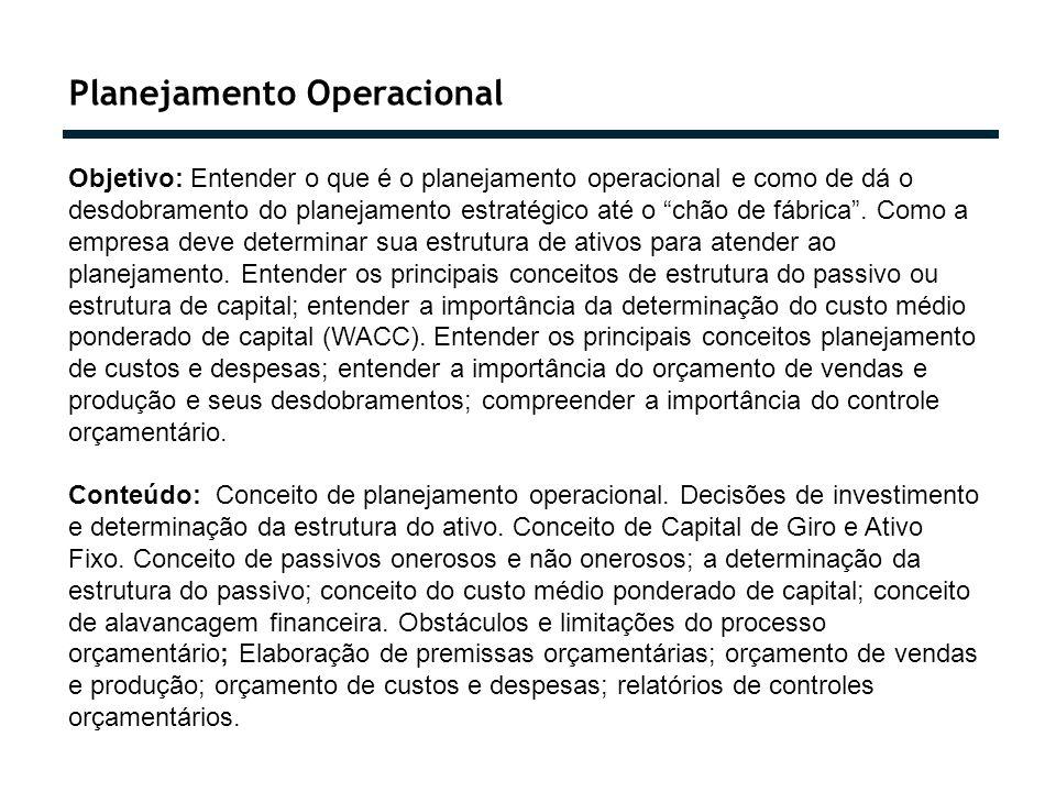 Planejamento Operacional Objetivo: Entender o que é o planejamento operacional e como de dá o desdobramento do planejamento estratégico até o chão de