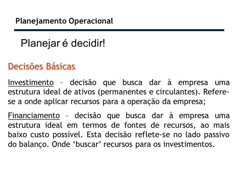 Planejamento Operacional Planejar é decidir! Decisões Básicas Investimento – decisão que busca dar à empresa uma estrutura ideal de ativos (permanente